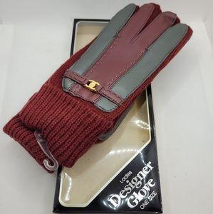 Vintage NEW Chanel Gloves Maroon & Grey Winter